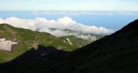 朝日を浴びる鳥海山