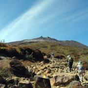 峰の茶屋跡に至る登山道から